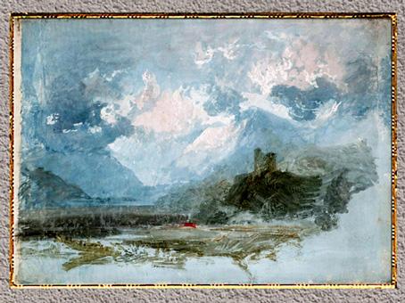 D'après Dolbadarn Castle, William Turner, vers 1799-1800, étude en couleur, crayon et aquarelle, XIXe siècle. (Marsailly/Blogostelle)