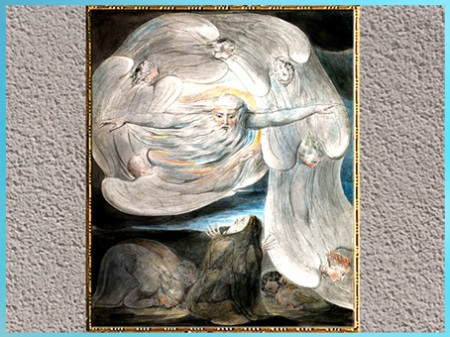 D'après The Lord Answering Job from the Whirlwind, de William Blake, 1803-1805, aquarelle, plume, encre, début XIXe siècle. (Marsailly/Blogostelle)