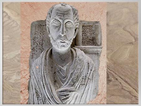 D'après Marcus Julius Maximus, buste funéraire et inscriptions, Ier-IIIe siècle, Palmyre, Syrie. (Marsailly/Blogostelle)