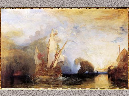 D'après Ulysses deriding Polyphemus, William Turner, 1829, l'Odyssée d'Homère, huile sur toile, XIXe siècle. (Marsailly/Blogostelle)