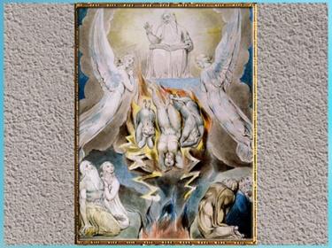 D'après The Fall of Satan (La Chute de Satan), de William Blake, Livre de Job, 1804-1807, aquarelle, plume encre, début XIXe siècle. (Marsailly/Blogostelle)
