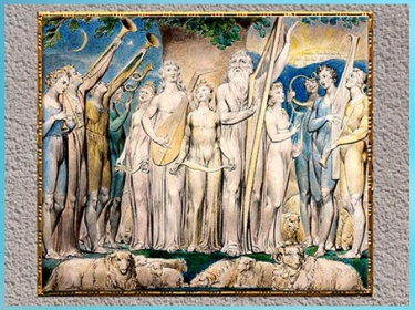 D'après Job and His Family Restored to Prosperity, de William Blake, Livre de Job, 1804-1807, aquarelle, début XIXe siècle. (Marsailly/Blogostelle)