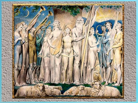 D'après Job and His Family Restored to Prosperity, de William Blake, Livre de Job, 1804-1807, aquarelle, début XIXe siècle. (Marsailly/Blogostelle)
