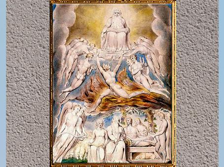 D'après Satan Before the Throne of God (Satan devant le trône de Dieu), de William Blake, Livre de Job, 1804-1807, aquarelle, plume, encre, début XIXe siècle. (Marsailly/Blogostelle)