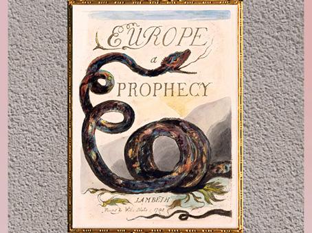 D'après Europe a Prophecy, titre, de William Blake, 1794, gravure, encre, aquarelle, fin XVIIIe siècle. (Marsailly/Blogostelle)