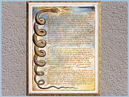 D'après Europe a Prophecy, serpent, de William Blake, 1794, gravure, encre, aquarelle, fin XVIIIe siècle. (Marsailly/Blogostelle)