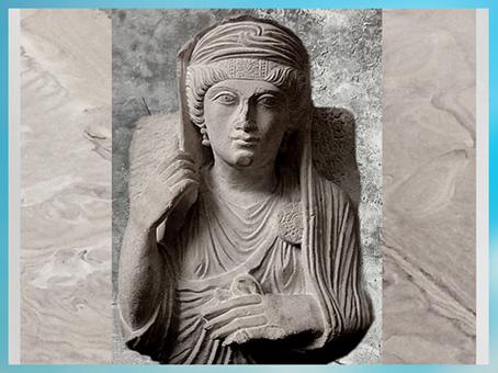 D'après le portrait funéraire d'une palmyrénienne, vers 170-190, calcaire, IIe siècle, antique Palmyre, Syrie. (Marsailly/Blogostelle)