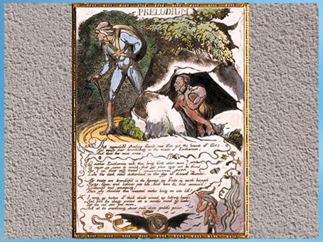 D'après Europe, a Prophecy, Prélude, William Blake, 1794, gravure, encre, aquarelle, fin XVIIIe siècle (Marsailly/Blogostelle)