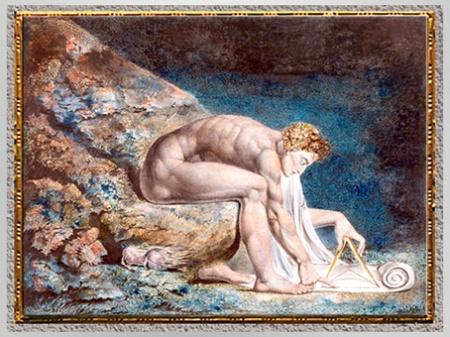 D'après Isaac Newton, de William Blake, 1795-1805, plume, encre et aquarelle, fin XVIIIe-XIXe siècle. (Marsailly/Blogostelle)