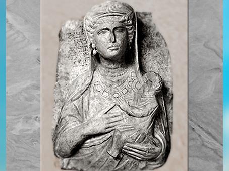 D'après une stèle funéraire, avec inscription, calcaire, première moitié du IIIe siècle, antique Palmyre, Syrie. (Marsailly/Blogostelle)