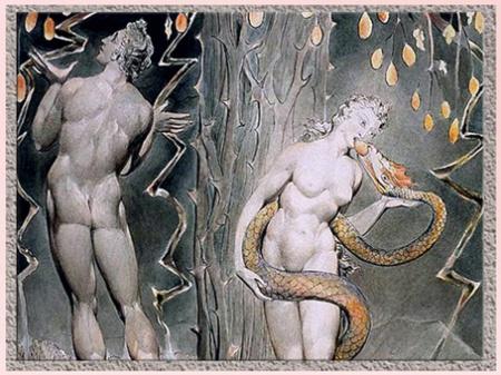 D'après La Tentation d'Ève, détail, de William Blake, Paradise Lost de John Milton, 1808, plume, encre, aquarelle, début XIXe siècle. (Marsailly/Blogostelle)