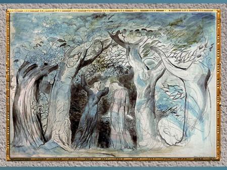 D'après Dante et Virgile dans la forêt, de William Blake, 1824-1827, Divine Comédie, plume, encre et aquarelle, début XIXe siècle. (Marsailly/Blogostelle)
