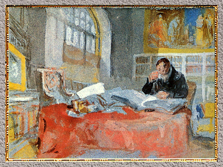 D'après A man seated at a table in the Old Library, de William Turner, 1827, aquarelle et gouache, XIXe siècle. (Marsailly/Blogostelle)