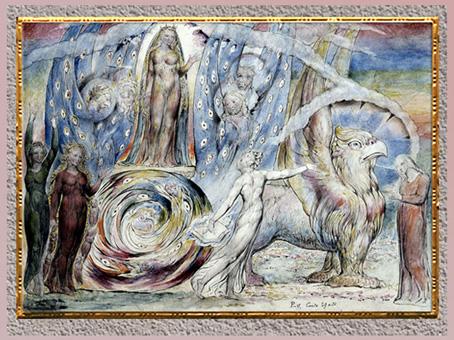 D'après Béatrice et Dante, Divine Comédie, de William Blake, 1824-1827, plume, encre et aquarelle, début XIXe siècle. (Marsailly/Blogostelle)