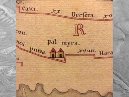 D'après La Table de Peutinger, mention de Palmyre, manuscrit médiéval, copie d'une carte romaine reproduisant la carte d'Agrippa. (Marsailly/Blogostelle)