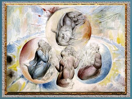 D'après des saints, Dante et Béatrice, de William Blake, 1824-1827, Divine Comédie, plume, encre, aquarelle, début XIXe siècle.  (Marsailly/Blogostelle)