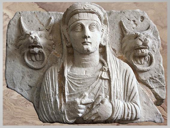 D'après un buste funéraire féminin, avec heurtoirs-lions, , calcaire, 120, Palmyre, IIe siècle, Syrie. (Marsailly/Blogostelle)