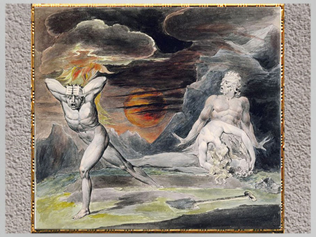 D'après Cain Fleeing from the Wrath of God ou The Body of Abel Found by Adam and Eve, de William Blake, 1805-1809, aquarelle, encre, mine de plomb, début XIXe siècle. (Marsailly/Blogostelle)