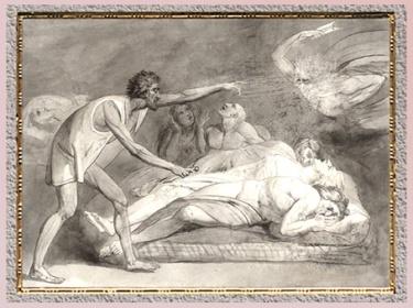 D'après The House of Death, de William Blake, 1790, Paradise Lost de John Milton, plume, encre et aquarelle, fin XVIIIe siècle. (Marsailly/Blogostelle)