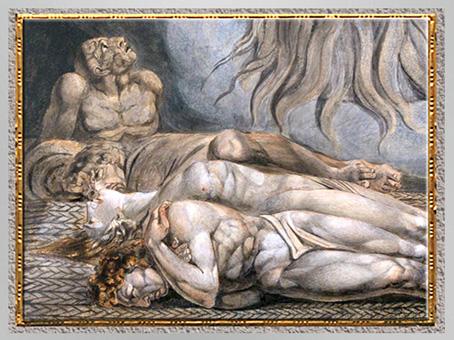 D'après The House of Death, de William Blake, mourants, détail, fin XVIIIe siècle. (Marsailly/Blogostelle)