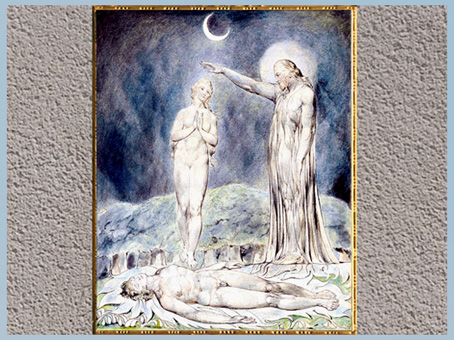 D'après La Création d'Ève, de William Blake, 1822, Paradise Lost de John Milton, plume, encre, aquarelle, début XIXe siècle. (Marsailly/Blogostelle)