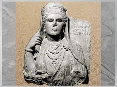 D'après dame Aqmat, fille de Hagagu, buste funéraire, IIe siècle, , antique Palmyre, Syrie. (Marsailly/Blogostelle)