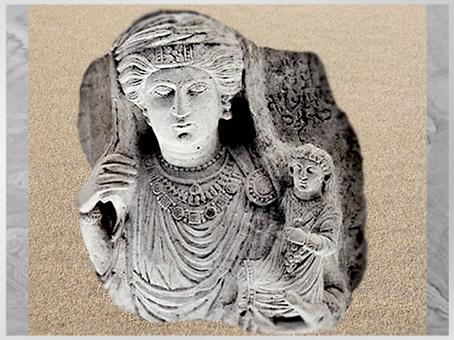 D'après Habba, fille de Oga (fils de) Yarhai, portant un enfant, buste funéraire, calcaire, IIIe siècle, antique Palmyre, Syrie. (Marsailly/Blogostelle)