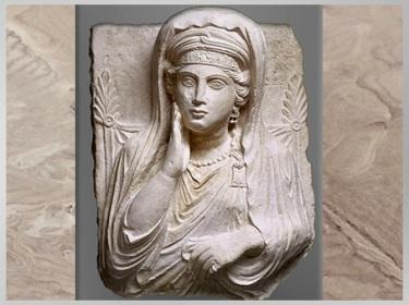 D'après Ummayat, fille de Yarhai, buste funéraire, calcaire, seconde moitié du IIe siècle, antique Palmyre, Syrie. (Marsailly/Blogostelle)
