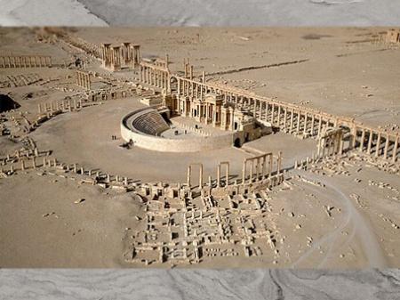 D'après l'amphithéâtre, l'avenue avec colonnade, le tétrapyle, Ier-IIIe siècle, antique Palmyre, Syrie. (Marsailly/Blogostelle)