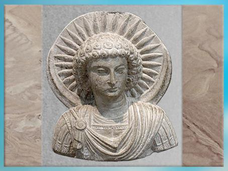 D'après Aglibôl dieu- Lune, linteau aux aigles, temple de Baalshamin, Ier-IIIe siècle, antique Palmyre, Syrie. (Marsailly/Blogostelle)