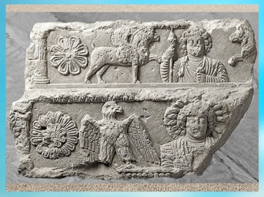 D'après Malakbêl, ange de Baal, et l'aigle solaire, linteau, calcaire, temple de Baal, Ier- IIIe siècle, antique Palmyre, Syrie. (Marsailly/Blogostelle)
