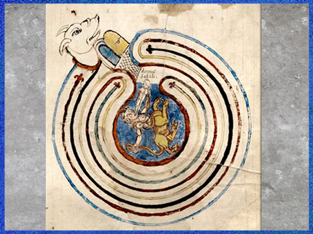D'après le labyrinthe de Dédale, palais du Minotaure manuscrit, parchemin latin, IXe siècle, art médiéval. (Marsailly/Blogostelle)