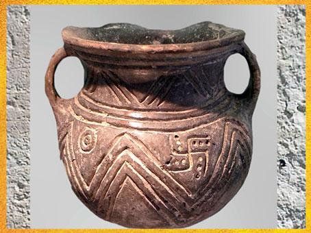D'après une poterie d'Haçilar, motif du svastika, VIe millénaire avjc, Anatolie, Levant Néolithique. (Marsailly/Blogostelle)