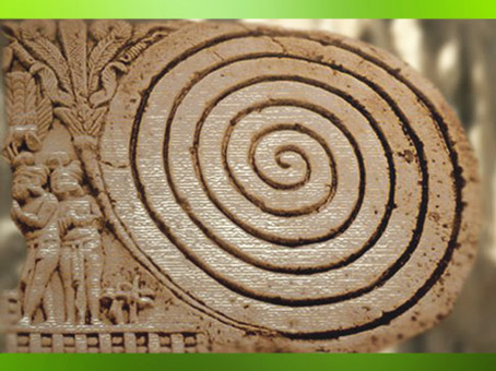 D'après le motif de la spirale, décor du grand stûpa de Sanchî, Ier siècle avjc-Ier siècle apjc, Inde ancienne du Nord. (Marsailly/Blogostelle)