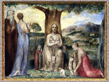 D'après Christ Blessing the Little Children, de William Blake, 1799, tempera sur toile, fin XVIIIe siècle. (Marsailly/Blogostelle)