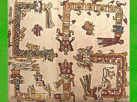 D'après un svastika, calendrier et cosmogonie Aztèque, codex Vaticanus B (ou 3773), groupe Borgia, XIVe- XVe siècle, Mésoamérique. (Marsailly/Blogostelle)