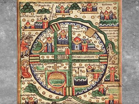 D'après la cité de Jérusalem, plan symbolique des 4 directions de l'espace, psautier, Fécamp, 1180 apjc, France, XIIe siècle, art Médiéval. (Marsailly/Blogostelle)