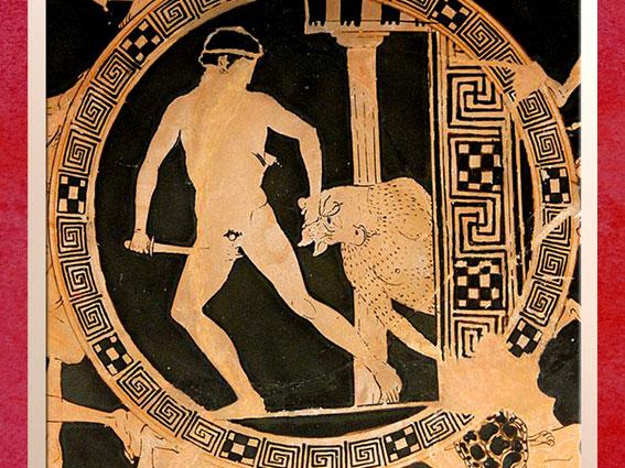D'après Thésée et le Minotaure, et frises de svastikas et de grecques, détail, céramique, style attique à figures rouges, 440-430 avjc, Vulci, art antique. (Marsailly/Blogostelle)
