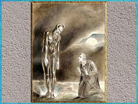 D'après Hamlet and his Father's Ghost (Hamlet et le fantôme de son père), de William Blake, 1806, Shakespeare, plume, encre, lavis et aquarelle, début XIXe siècle. (Marsailly/Blogostelle)