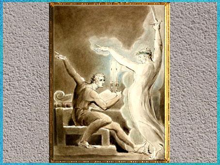 D'après Brutus and Caesar's Ghost (Brutus et le fantôme de Jules César), de William Blake, 1806, Shakespeare, plume, encre, lavis et aquarelle, début XIXe siècle. (Marsailly/Blogostelle)