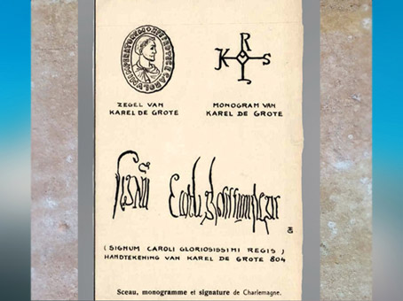 D'après le monogramme et la signature de Charlemagne, codex, Xe siècle, époque médiévale.  (Marsailly/Blogostelle)