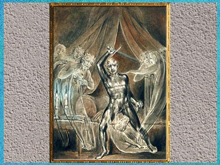 D'après Richard III and the ghosts (Richard III et les fantômes), de William Blake, Shakespeare, 1806, plume, encre, lavis et aquarelle, début XIXe siècle. (Marsailly/Blogostelle)