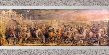 D'après Chaucer's Canterbury Pilgrims, de William Blake, 1808, plume et tempera sur toile, début XIXe siècle.  (Marsailly/Blogostelle)