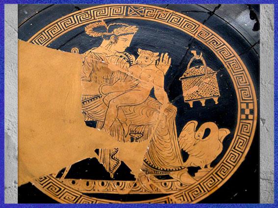 D'après Pasiphaé et le Minotaure enfant, coupe, céramique, style attique à figures rouges, détail, vers 340-320 avjc, Vulci, art antique. (Marsailly/Blogostelle)