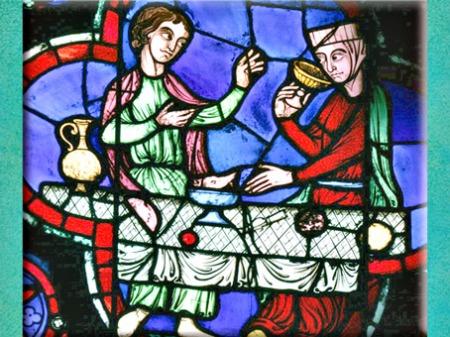 D'après Le Banquet, couple et svastikas, vitrail, Notre Dame de Paris, 1163 apjc-début XIVe siècle, Gothique, art Médiéval. (Marsailly/Blogostelle)