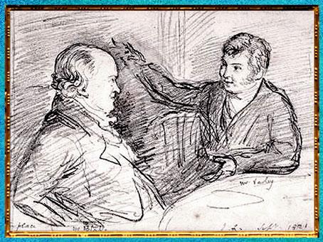 D'après William Blake conversant avec John Varley (à droite), de John Linnell, 1818, début XIXe. (Marsailly/Blogostelle)