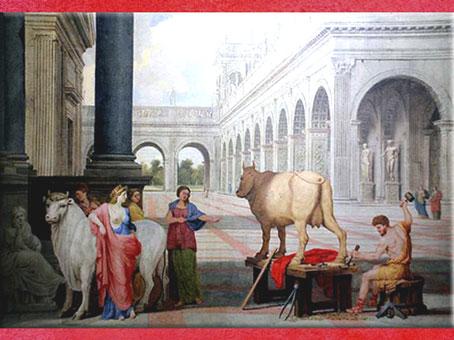 D'après Dédale et Pasiphaé, de Jean Lemaire, huile sur toile, XVIIe siècle. (Marsailly/Blogostelle)