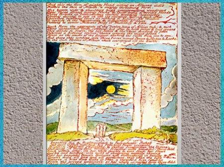 D'après The Druid Gateway (La Porte du druide), poème Jérusalem, de William Blake, 1804-1820, plume, encre, aquarelle, début XIXe. (Marsailly/Blogostelle)