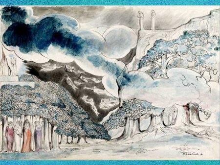 D'après Homère et les poètes antiques, de William Blake, Divine Comédie de Dante, vers 1824-1827, graphite, encre et aquarelle, début XIXe siècle. (Marsailly/Blogostelle)