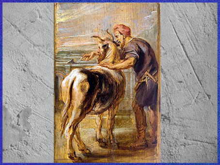D'après Dédale et le Minotaure, de Pierre Paul Rubens, 1636, esquisse préparatoire, huile sur bois, XVIIe siècle. (Marsailly/Blogostelle)